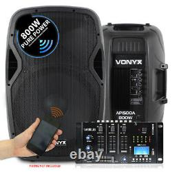 Pair Vonyx 15 Active Powered Speakers Bluetooth MP3 SD USB Mixer 1600W SSC2697
