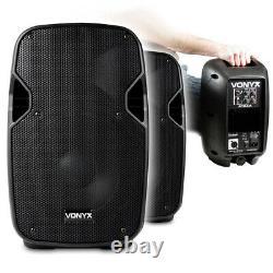 Pair Vonyx AP800A 8 Hi-End Active Powered PA Studio DJ Powerful Speakers 400W