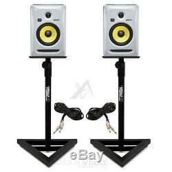 Pair White KRK Rokit RP6 G3 Active Powered Studio DJ Monitors inc Monitor Stands