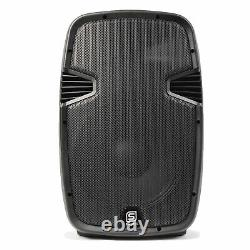 Pair of 12 Active Powered Speakers Mobile DJ Karaoke PA Set 1200W UK Stock