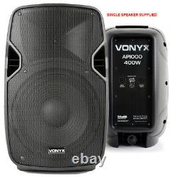 Pair of Active Powered 10 Mobile DJ PA Disco Speakers with Cables 800 Watts