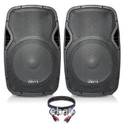 Pair of Active Powered 15 Mobile DJ PA Disco Speakers with Cables 1600 Watts