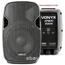 Pair of Active Powered 8 Mobile DJ PA Disco Speakers with Cables 400 Watts