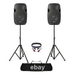 Pair of Active Powered 8 Mobile DJ PA Disco Speakers with Stands & Cables 400W