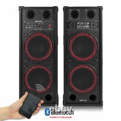 Pair of Double 10 Active Powered Bluetooth Speakers USB PA House Party Karaoke