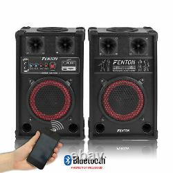 Pair of Fenton 8 Powered Bluetooth Speakers and 2x Wired Handheld Microphones