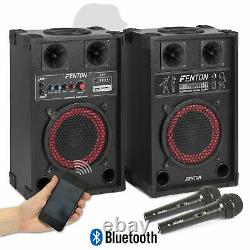 Pair of Fenton 8 Powered Bluetooth Speakers with Wired Handheld Mics 400W UK