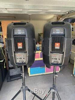 Pair of JBL EON515XT Powered PA Speakers With Speaker Stands Cables And Mics