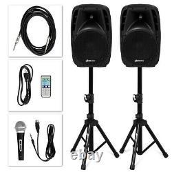 Powered Speaker Pair 10 Bluetooth Remote Control PA Speaker System Portable DJ