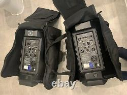 QSC K12 Active Powered Speakers Pair 1000w With Jam Stands And Qsc Cases & Leads