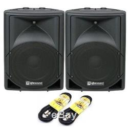 QTX QS15A 15 1400W Active Powered Disco DJ PA Karaoke Speakers PAIR FREE LEADS