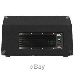 Seismic Audio Pair Premium Powered 2-Way 10 PA Floor Monitor withTitanium Horns