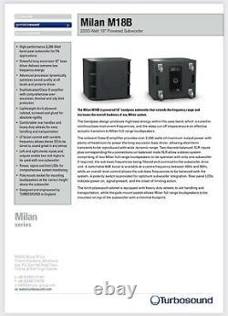 Turbosound Milan M18B 2200 Watt Powered Subwoofer Pair