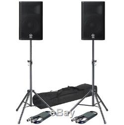 Yamaha DXR12 Powered Speakers Pair with Gorilla Stands and Padded Hotcovers